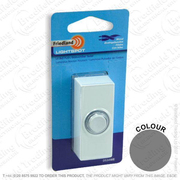 I02) Door Bell Push LightSpot black FRIEDLAND