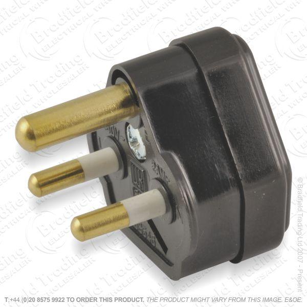 F02) Plugs Round 3pin 5A Nofuse Black A09B