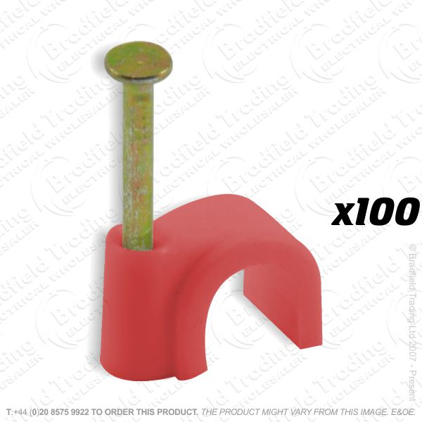 H02) Cable Clips Fire Alarm 6mm red x100