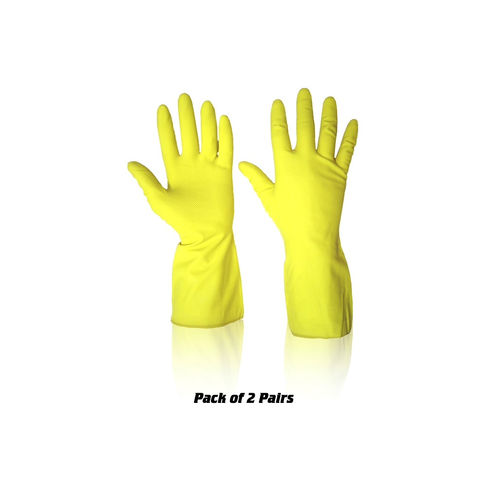 G48) Household Gloves Latex 2 Pairs Yellow