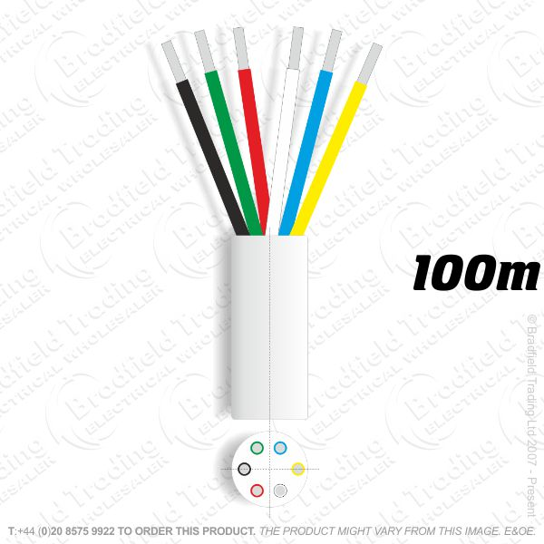 H08) Alarm Cable 6core 100M White