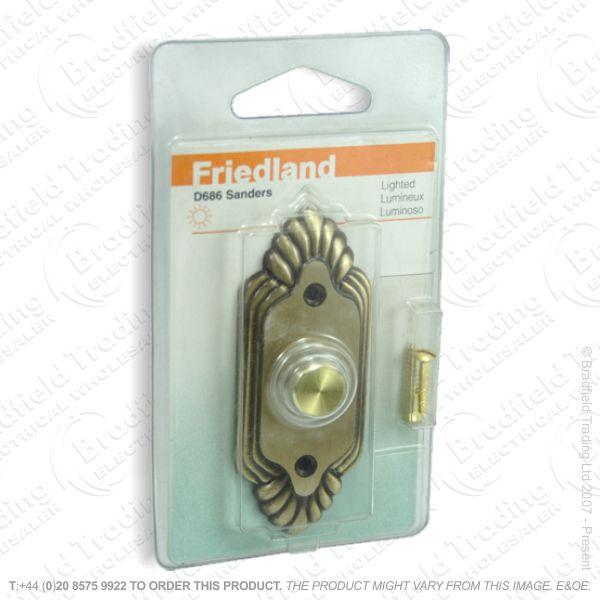 I02) Door Bell Push Sanders brass FRI