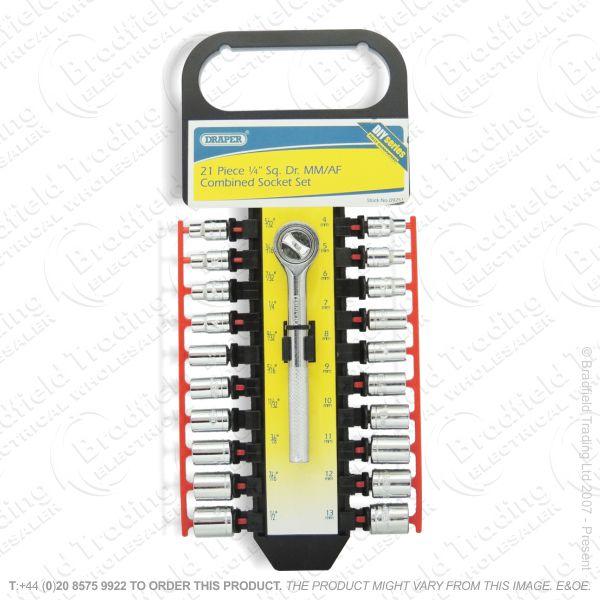 G37) Socket Set Ratchet 1/4  21pc DRAPER