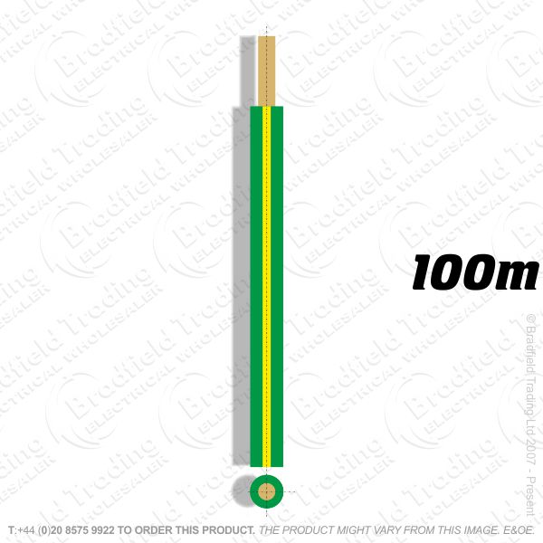 H04) Single Strand green/yellow 6mm 100M 6491