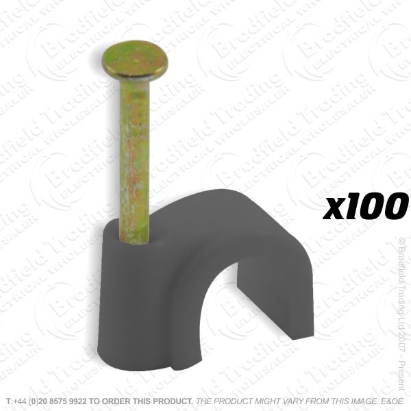 H02) Cable Clips Round 7mm Black x100