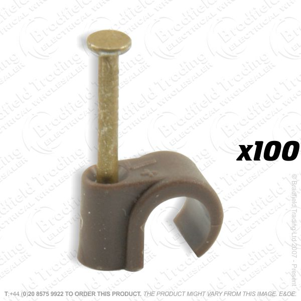 H02) Cable Clips TV Round7-8mm brownx100