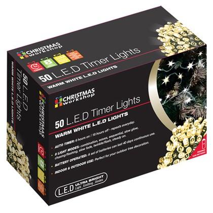 D09) 50 LED Battery Lights Warm White Timer