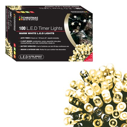 D09) 100 LED Battery Lights White Timer
