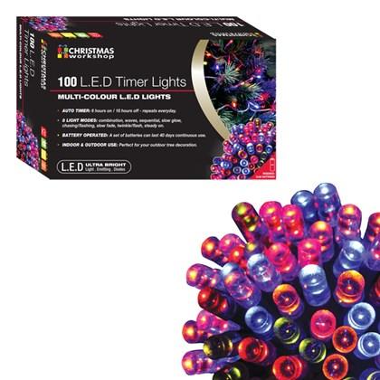 D09) 100 LED Battery Lights Multi Timer
