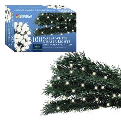 D09) Xmas Lights 100 LED Warm White Chaser