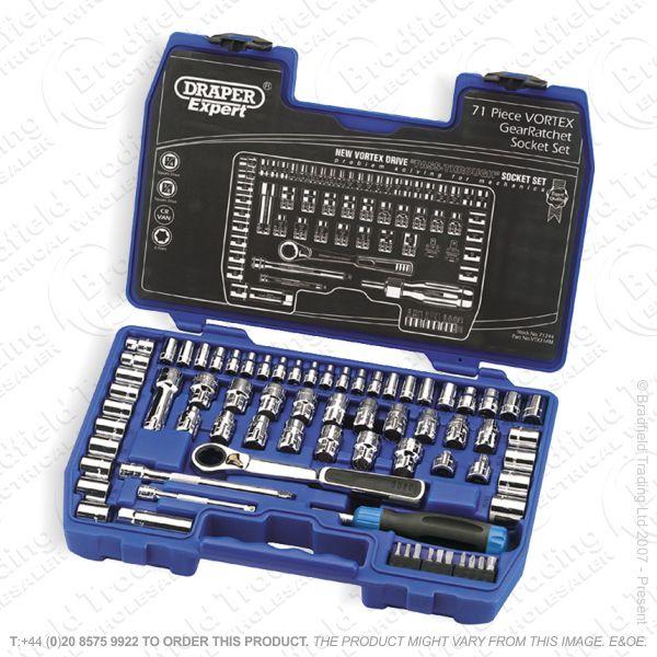 G37) Socket Set Vortex 71pc DRAPER