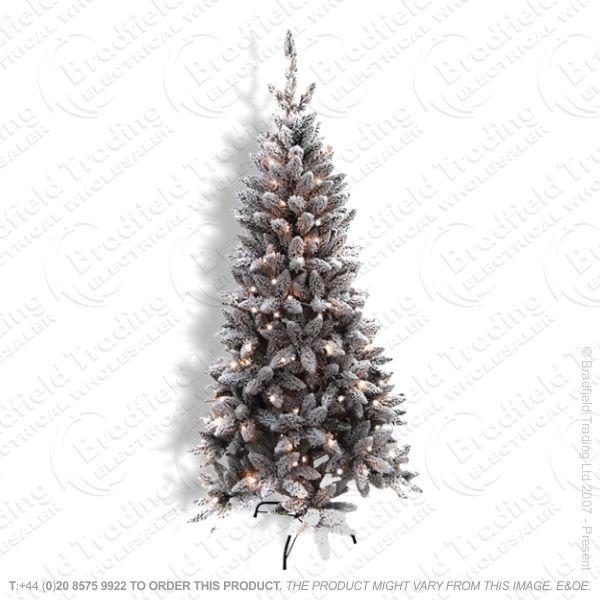 D11) 6ft Flocked Pine Tree Pre-Lit w Snow