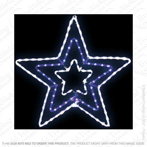 D12) 5M LED Blue/White Star Xmas Light