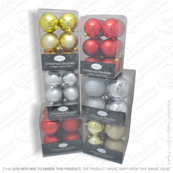 D11) 8x80mm Baubles 6pc Assorted Col