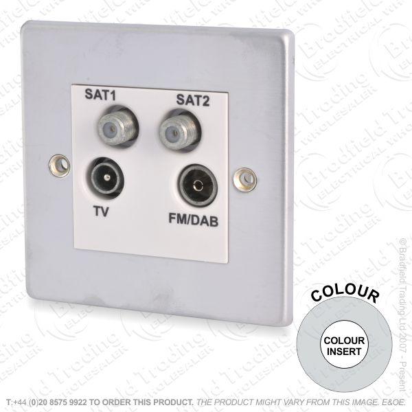 I38) TV/FM/Sat1/Sat2 Quad Plate St Steel WI