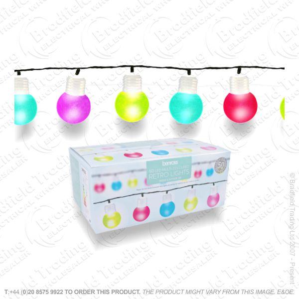 D08) Xmas Party Lights 50 LED Multi Colour
