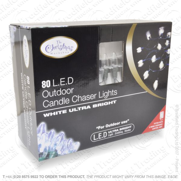 D10) Xmas Lights 80 LED White Outdoor C6