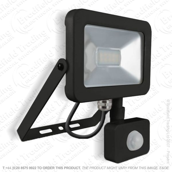 Black LED PIR Floodlight 10W IP65 PHOEBE