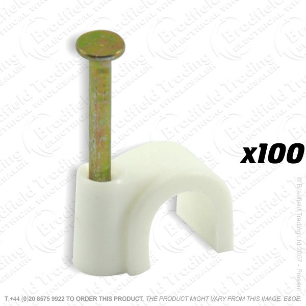 H02) Cable Clips Round 8mm white x100
