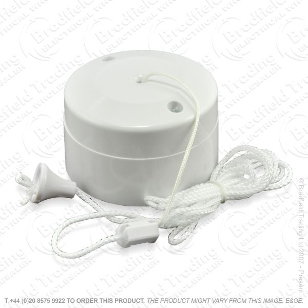 I17) Pull Switch 6A 2w White ECO