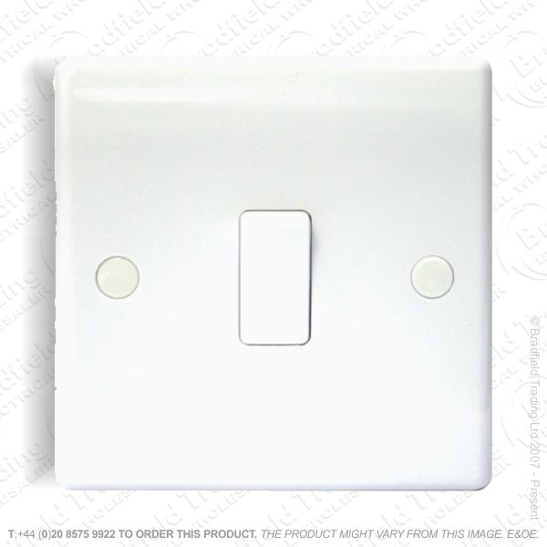 Switch SP 6A 1G 2w White Plastic BG