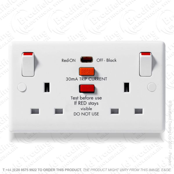 2G 13A Switched Socket RCD Nexus BG