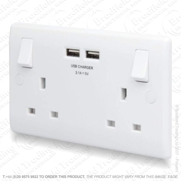 Socket Switched 2G 13A 3.1A x2 USB White BG
