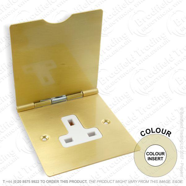 I46) Socket Floor 1G 13A Satin Brass WI