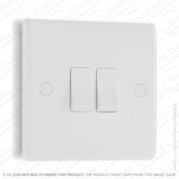 Switch SP 6A 2G 2w White Plastic BG