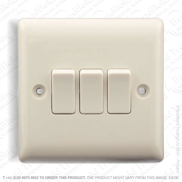 Switch 10A 3G 2w White Plastic BG