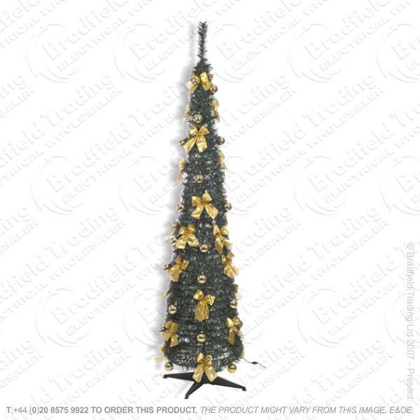 D11) Xmas 6ft Pop Up Tree Green w Bows