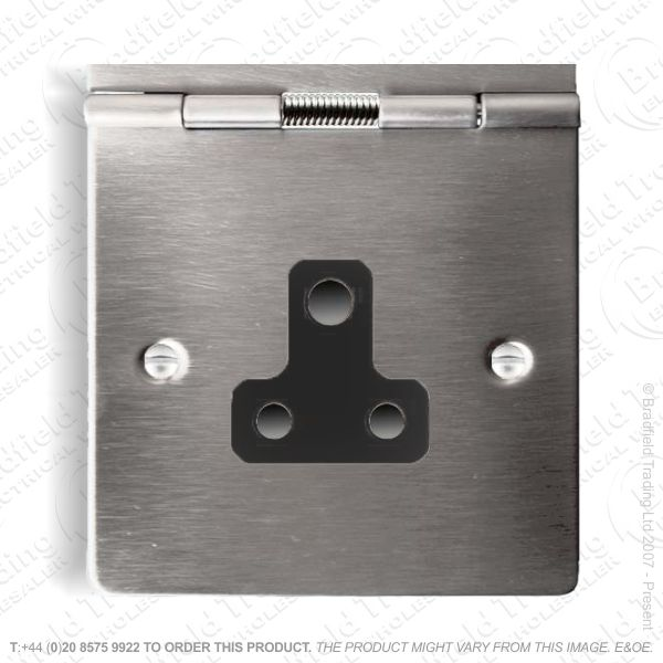 Floor Socket 1G 5A 3pin Round Ssteel BI