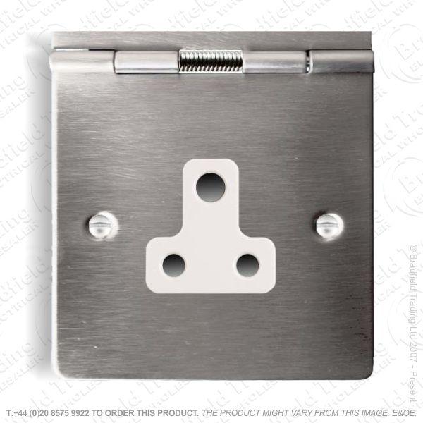 Floor Socket 1G 5A 3pin Round Ssteel WI