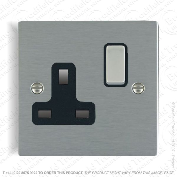 Satin steel 1g 13A Switched Socket Black