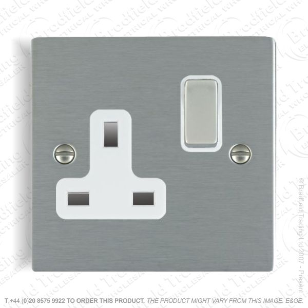 Satin steel 1g 13A Switched Socket Whi