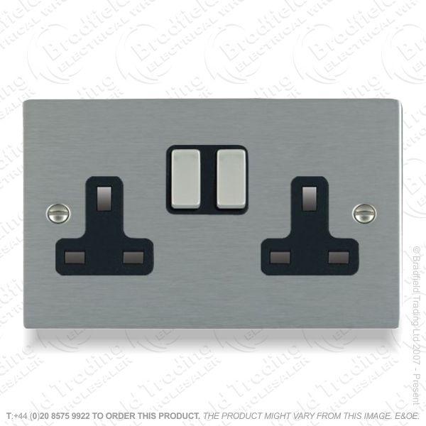 Satin steel 2g Switched Socket Black