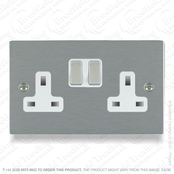 Satin steel 2g Switched Socket Whi HAMI