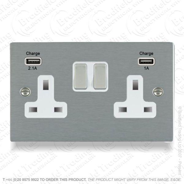 13A 2G Socket USB Stan Steel HAMILTON