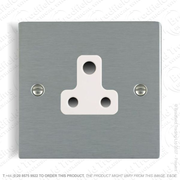 Satin steel 5A Round Pin Socket Whi