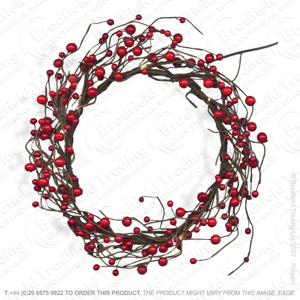D12) Red Berry 16  Wreath Snow