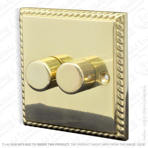 I32) Dimmer Push 2G 2w 400W Brass RE