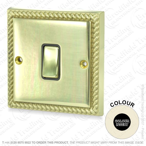 I32) Switch 1G 2w brass RE Black Ins