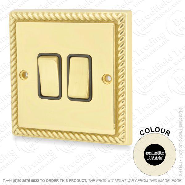 I32) Switch 2G 2w brass RE black Ins CHERITON