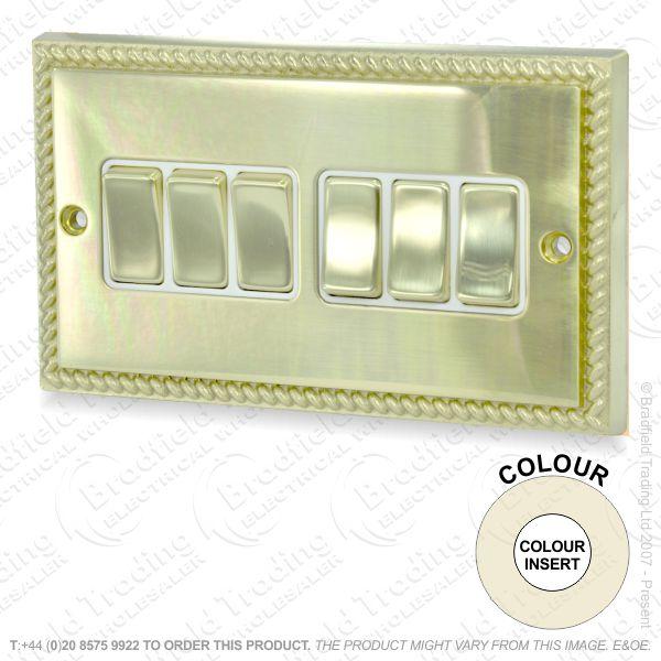 I32) Switch 6G 2w brass RE white Ins
