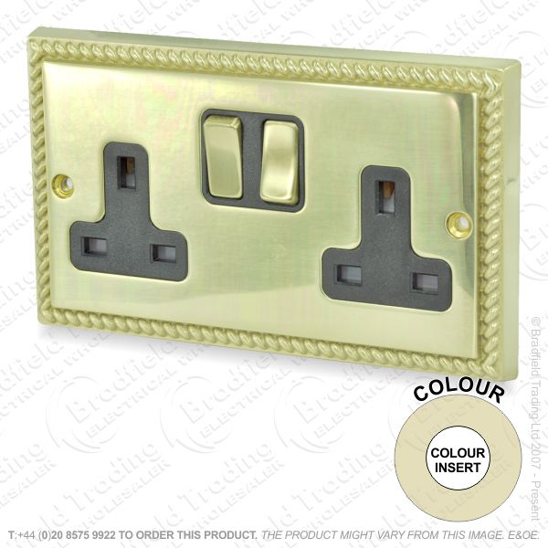 I33) Sockets Switched 2G 13A Brass Geor