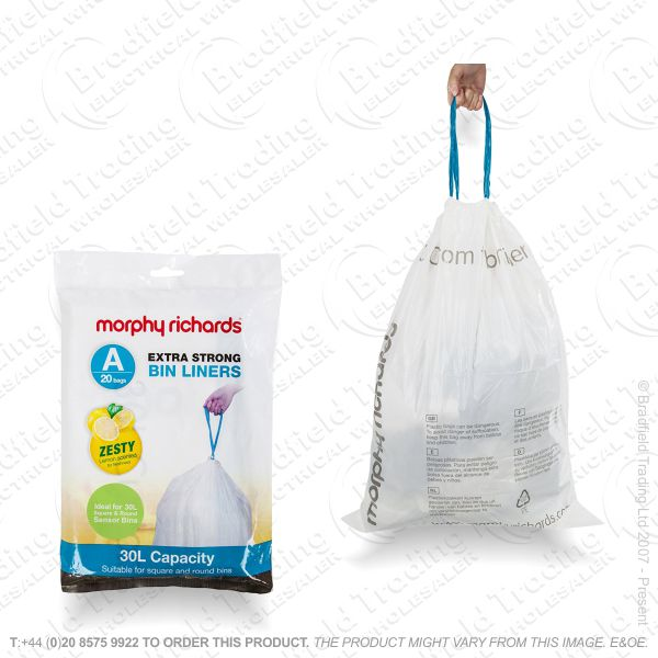 C24) 20pc 30L Bin Bags White Scented