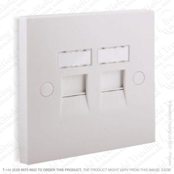 I30) Socket 2x RJ45 Cat5 Outlet 2G white IDC