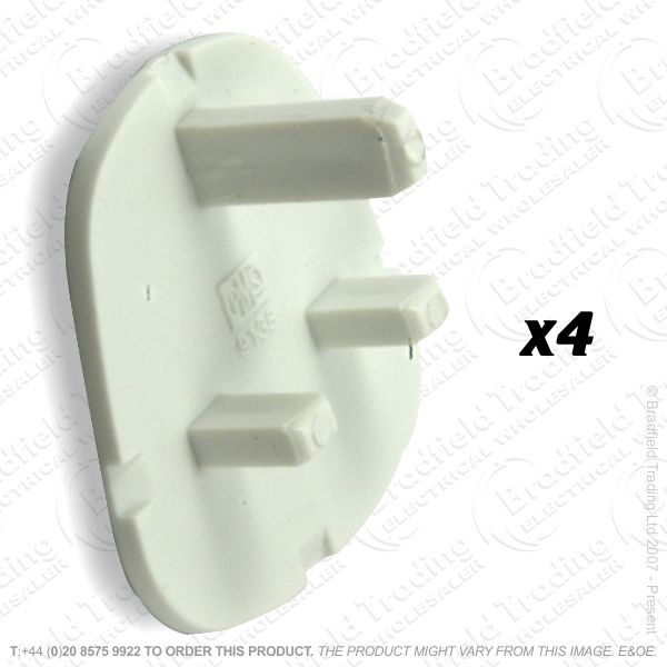 F02) Plug UK Safety Cover white Pk4 REDGREY