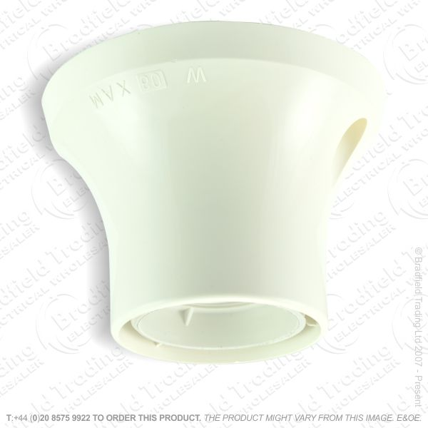B08) Batten Holder ES E27 White Plastic