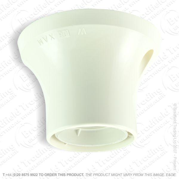B08) Batten Holder ES E27 White Plastic
